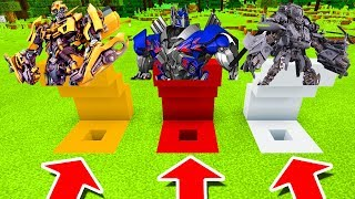 Minecraft PE : DO NOT CHOOSE THE WRONG HOLE! (Bumblebee, Optimus Prime & Blackout)