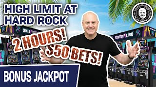 🌴 HIGH LIMIT f๐r TWO HOURS at Hard Rock! 😱 HUGE Jackpot on Fortune Link - GOTTA See This!