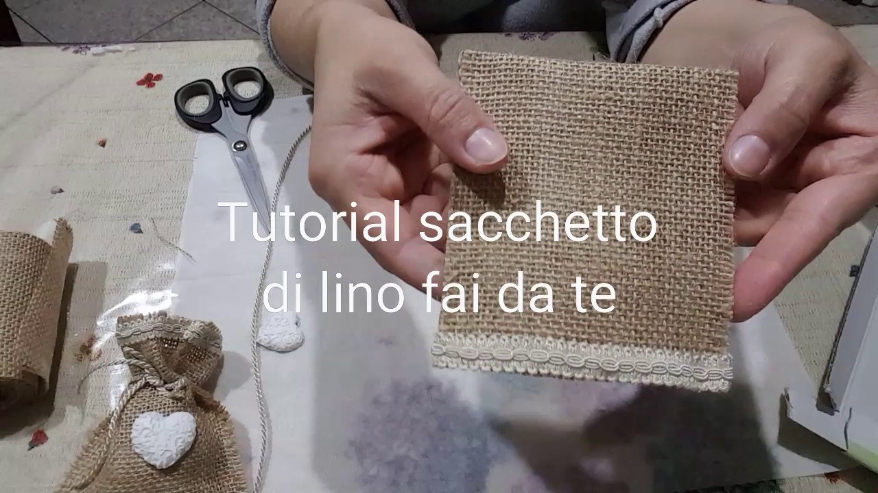 Sacchetto in lino fai da te youtube for Coprifornelli fai da te