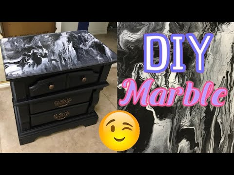 DIY Marble Nightstand Acrylic Paint Pour