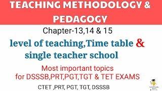 Teaching methodology and pedagogy (CH-13,14,15 level of teaching,time table,single teacher school