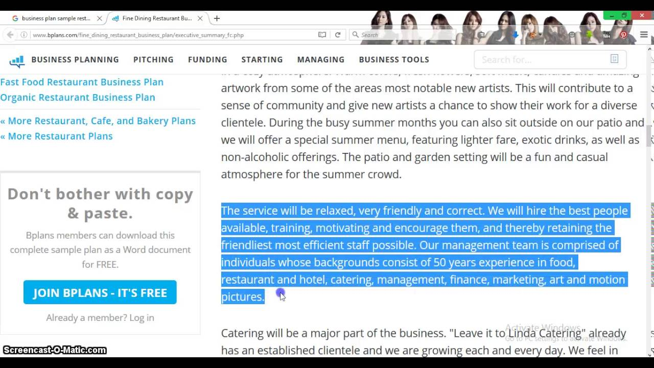 Business Plan Sample Restaurant Youtube