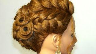 Вечерняя  прическа на средние волосы на основе французских кос.