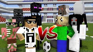 Monster School FOOTBALL CHALLENGE RONALDO VS BALDI S , SLENDRINA, GRANNY Minecraft Animation