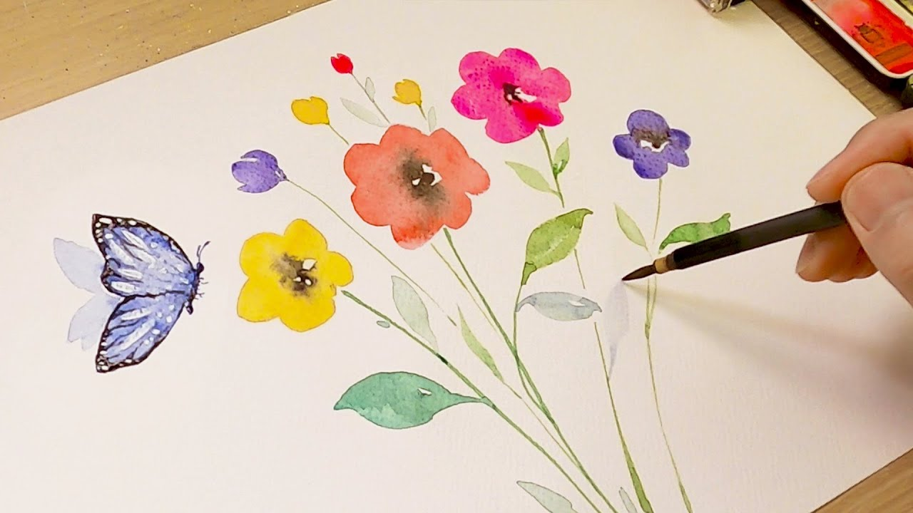 Watercolor flowers painting for beginners (simple and easy)