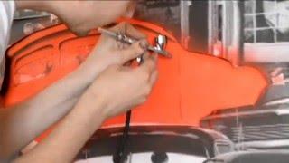 рисование при помощи аэрографа машины из мультфильма