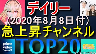 【 急上昇チャンネル 】デイリーランキングTOP20【 2020年8月8日 】
