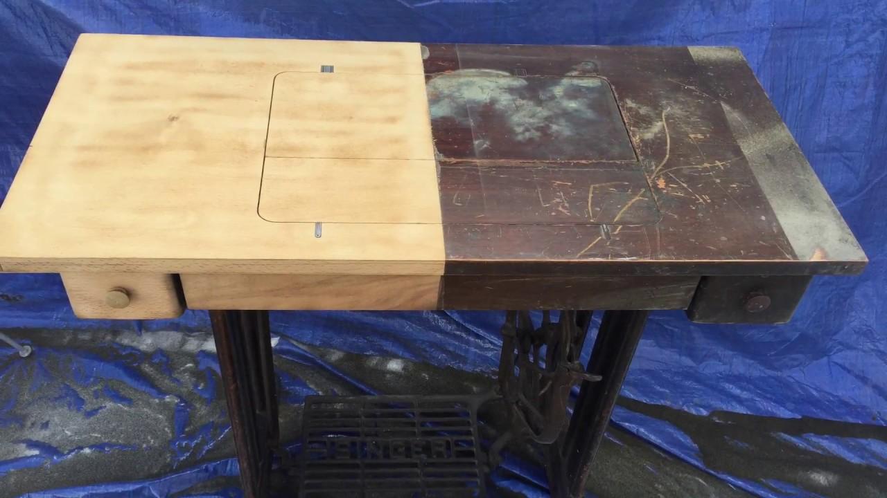 Table A Machine A Coudre aérogommage d'un meuble de machine à coudre singer