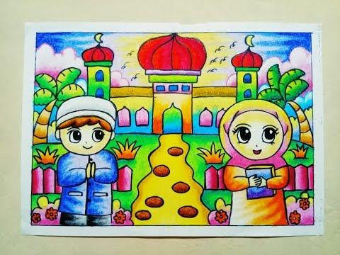Cara Mewarnai Gradasi Crayon Oilpastel Pergi Ke Masjid Luchshie