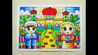 Cara Mewarnai Gradasi Crayon / Oilpastel : Pergi ke Masjid
