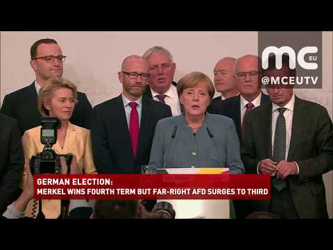 MERKEL WINS FOURTH TERM BUT FAR RIGHT AFD SURGES TO THIRD
