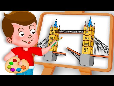 Drawing London Bridge Drawing Paint And Colouring with london bridge song For Kids Kids drawing TV