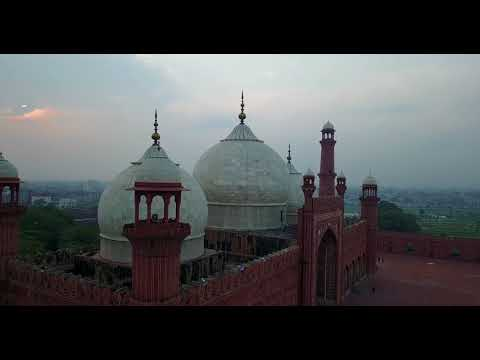 The Badshahi Mosque with a drone