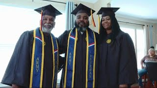 BLACK MOM, DAD AND GRANDDAD GRADUATE TOGETHER FROM COLLEGE
