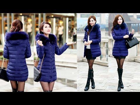 видео: Осенне-зимняя женская куртка-пальто (пуховик) с капюшоном и мехом с aliexpress