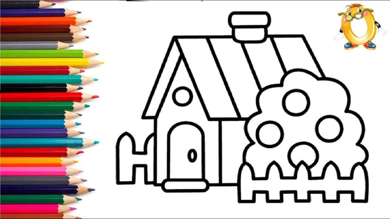 Раскраска для детей ДОМИК. Рисуем ДОМ. Учим цвета с ...