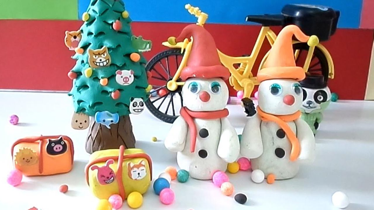 Diy Christmas Gifts Tree Ideas Play Doh Toy Snowman Making With