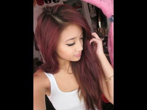 Dying my hair a maroon/purple color - YouTube