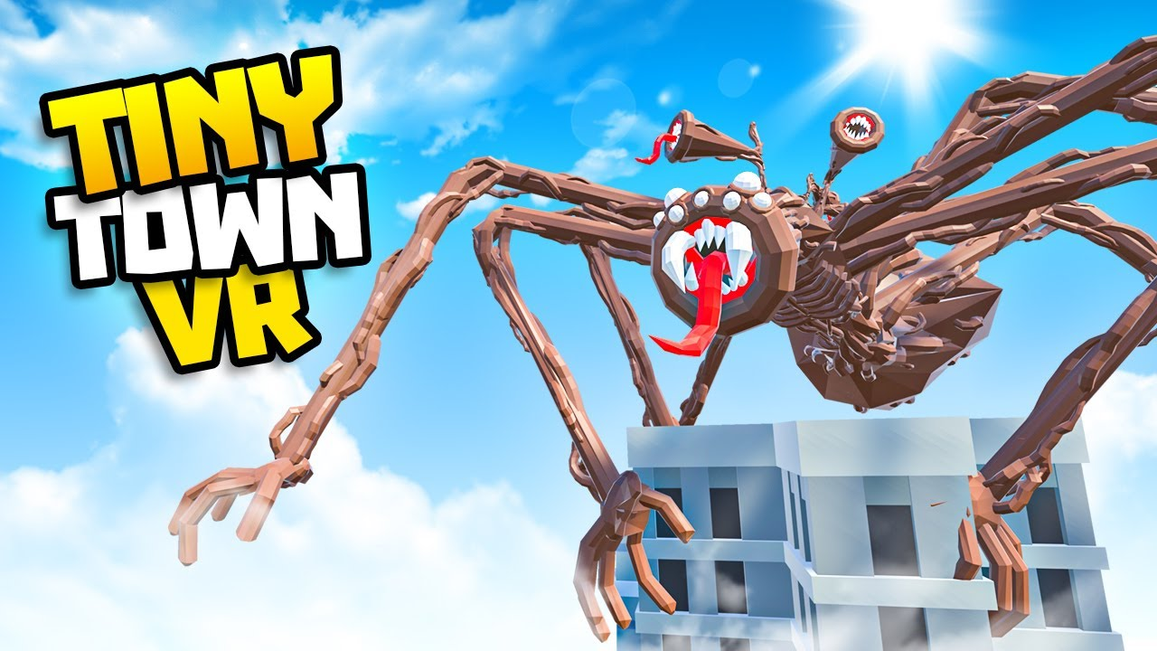 SPIDER SIREN HEAD Climbs the SCP Tower! - Tiny Town VR