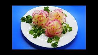 Как сделать цветы из овощей! красиво украсить салат
