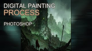 Digital Painting - Dark Fantasy III Landscape  Concept Art - Time-lapse