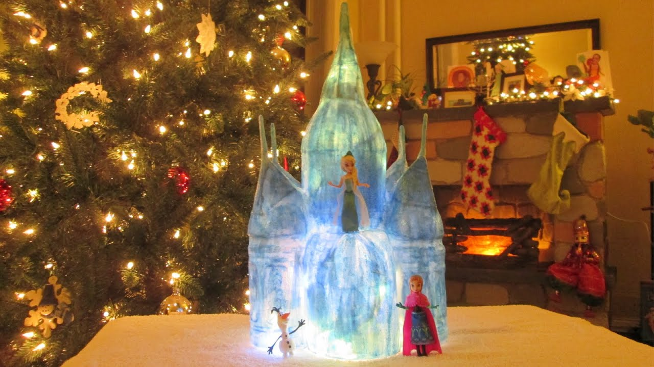 How to make a paper castle decoration - Diy Papier M Ch Frozen Inspired Ice Castle Tutorial It Lights Up Youtube