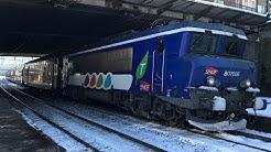 Des trains sous la Neige en Gare de Viroflay Rive Gauche