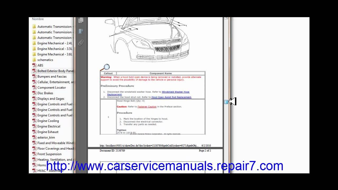 chevroletmalibu200820092010 Factory Service Manual and