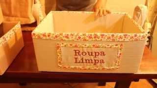 Como fazer organizadores com caixas de papelão forradas com tecido