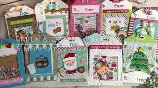 10 Tags - 1 Kit / Simon Says Stamp / December 2017 Kit / Milk & Cookies / Christmas Gift Tags
