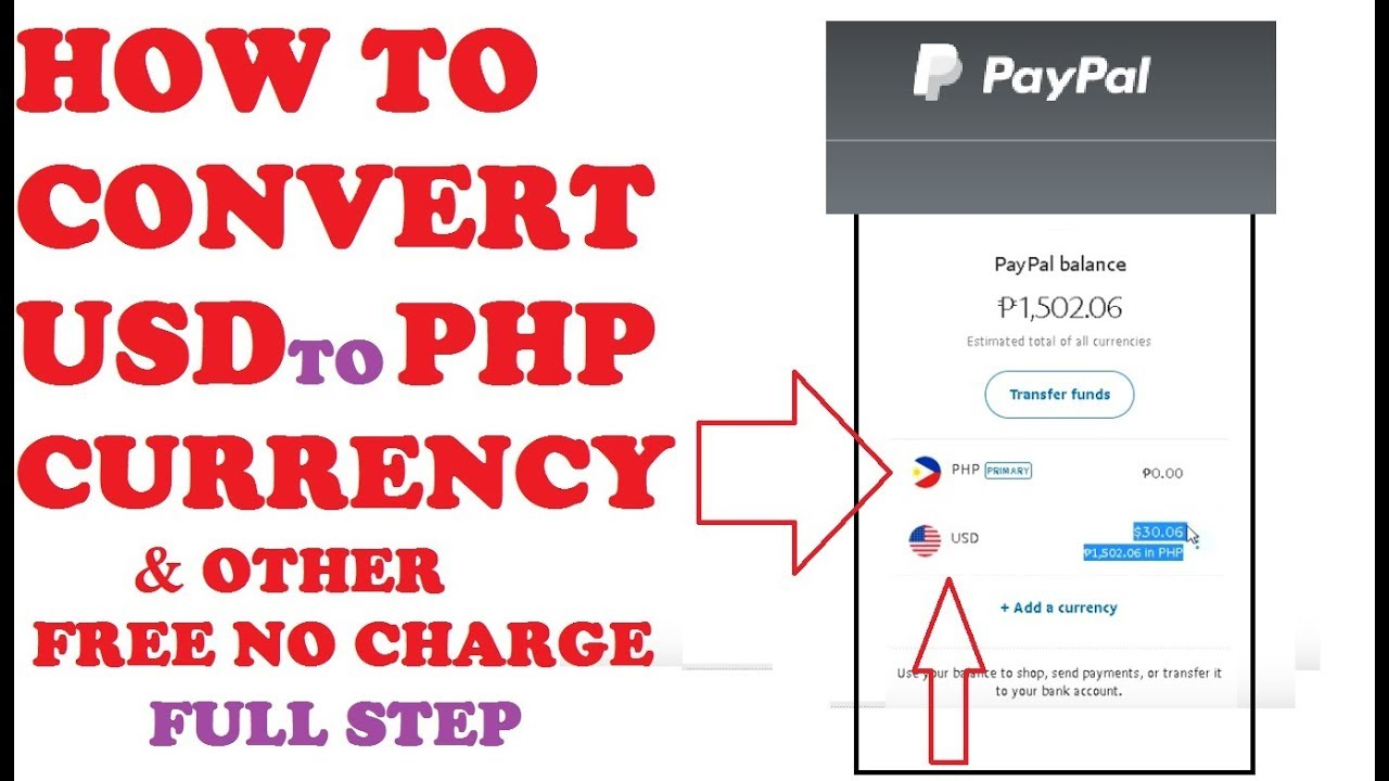 Paypal How To Convert Usd Php Any