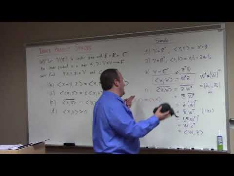 Linear Algebra: inner product space and norms introduced, 4-13-18