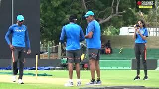 Hardik Pandya and Jasprit Bumrah taking bowling lessons from head coach Ravi Shastri