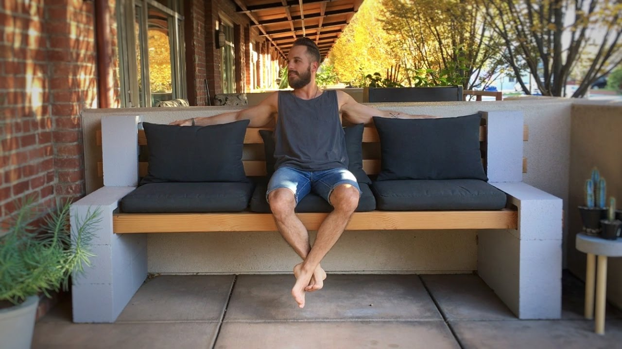 Cinder Block Bench - YouTube