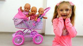 Las muñecas no quieren dormir. Polina y su cochecito nuevo Bebi Born