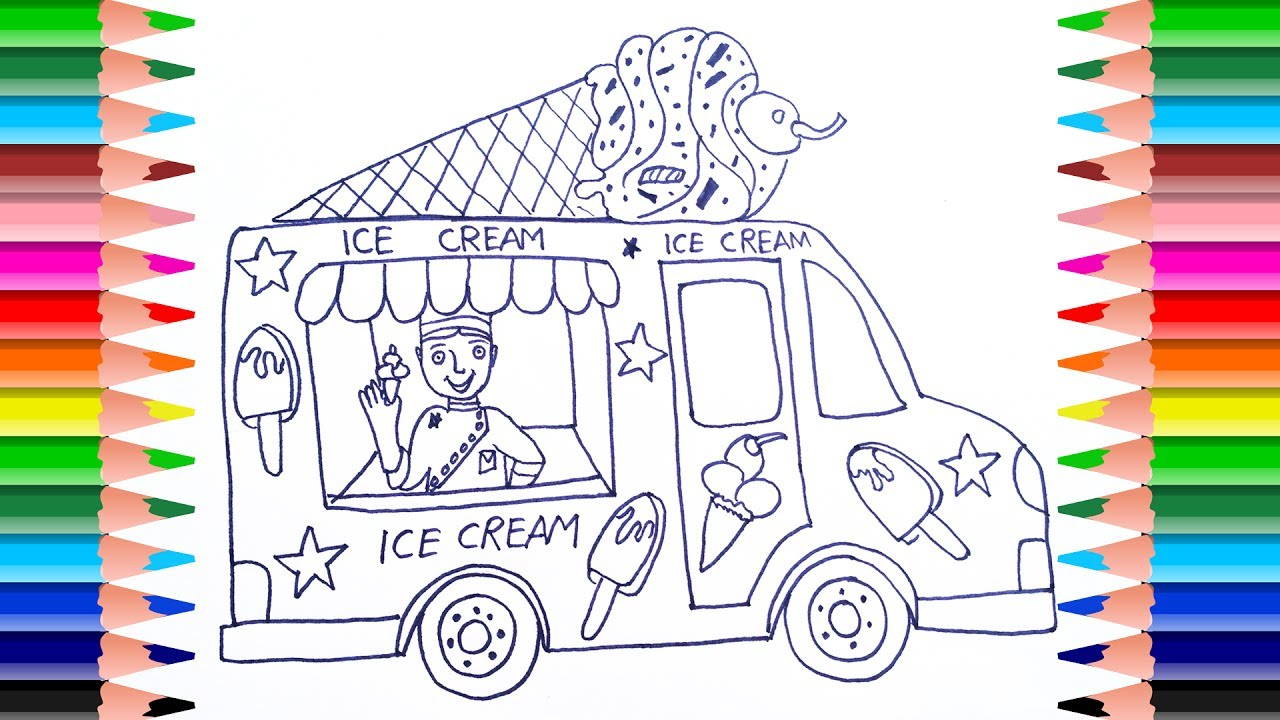 How To Draw Ice Cream Truck For Kids