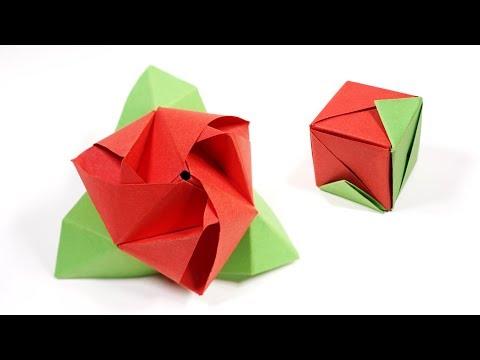 Origami Rose Cube (Valerie Vann) - Paper Folding / Papier Falten / 종이접기 / Paper Crafts / おりがみ