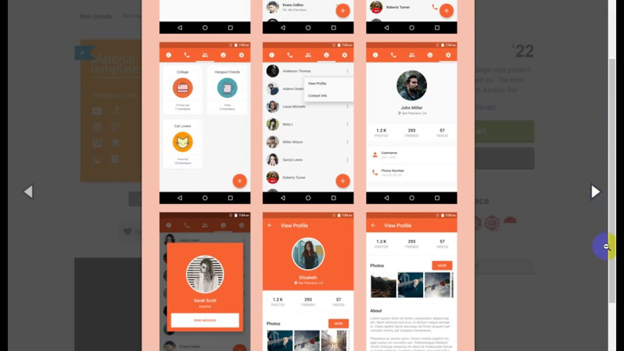 android material ui template 2 1 youtube