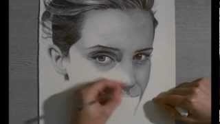 Emma Watson drawing with ball point pen.