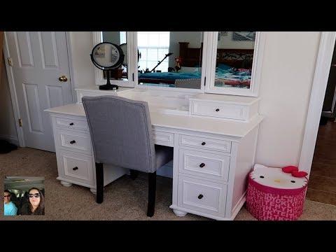 Makeup Vanity Tour & Set Up Chelsea Vanity Pottery Barn Teen Review | PaulAndShannonsLife