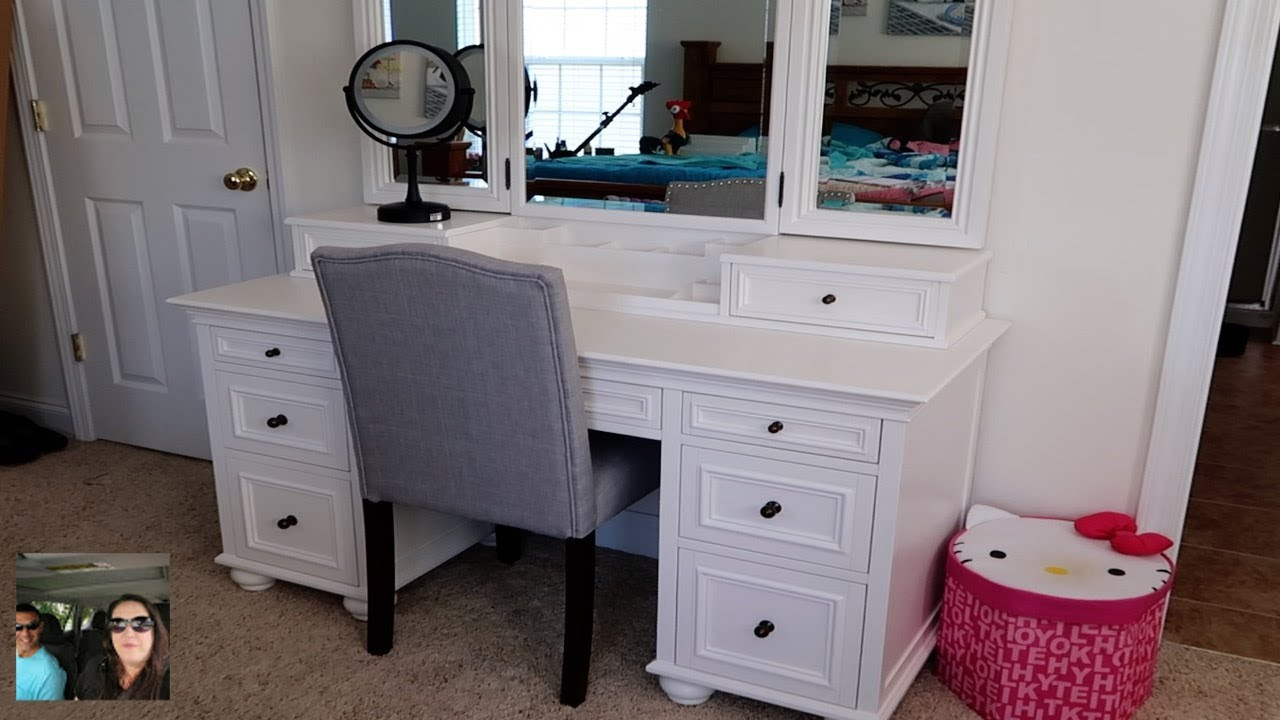 Makeup Vanity Tour & Set Up Chelsea Vanity Pottery Barn Teen Review |  PaulAndShannonsLife