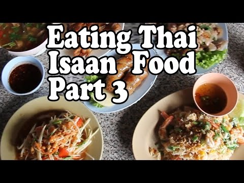 Eating Thai Food in Krabi Thailand. Thai Isaan Food at Tum Roi Thai Restaurant in Krabi Town.