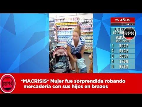 *MACRISIS* Mujer fue sorprendida robando mercadería con sus hijos en brazos