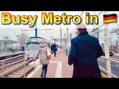 Taking Metro in Germany 2020 - Crowded Public Transportation in Dusseldorf