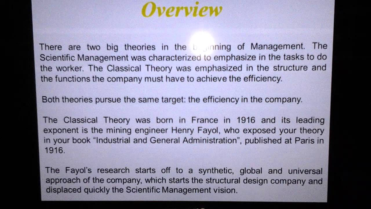 theories of management under the classical Classical management theory there are three well-established theories of classical management: taylor,s theory of scientific management, fayol's administrative theory, weber's theory of bureaucracy.