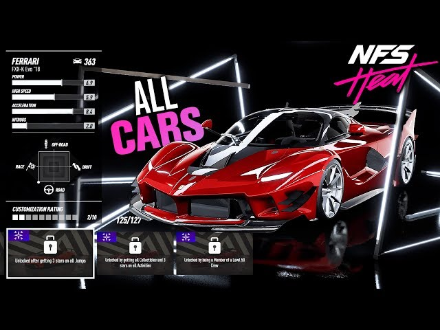 need for speed heat car list