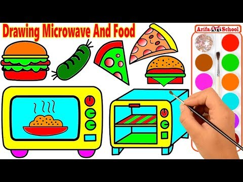 How To Draw Microwave. Coloring Pages For Kids With Colored Markers. Drawing And Art Colors For Kids