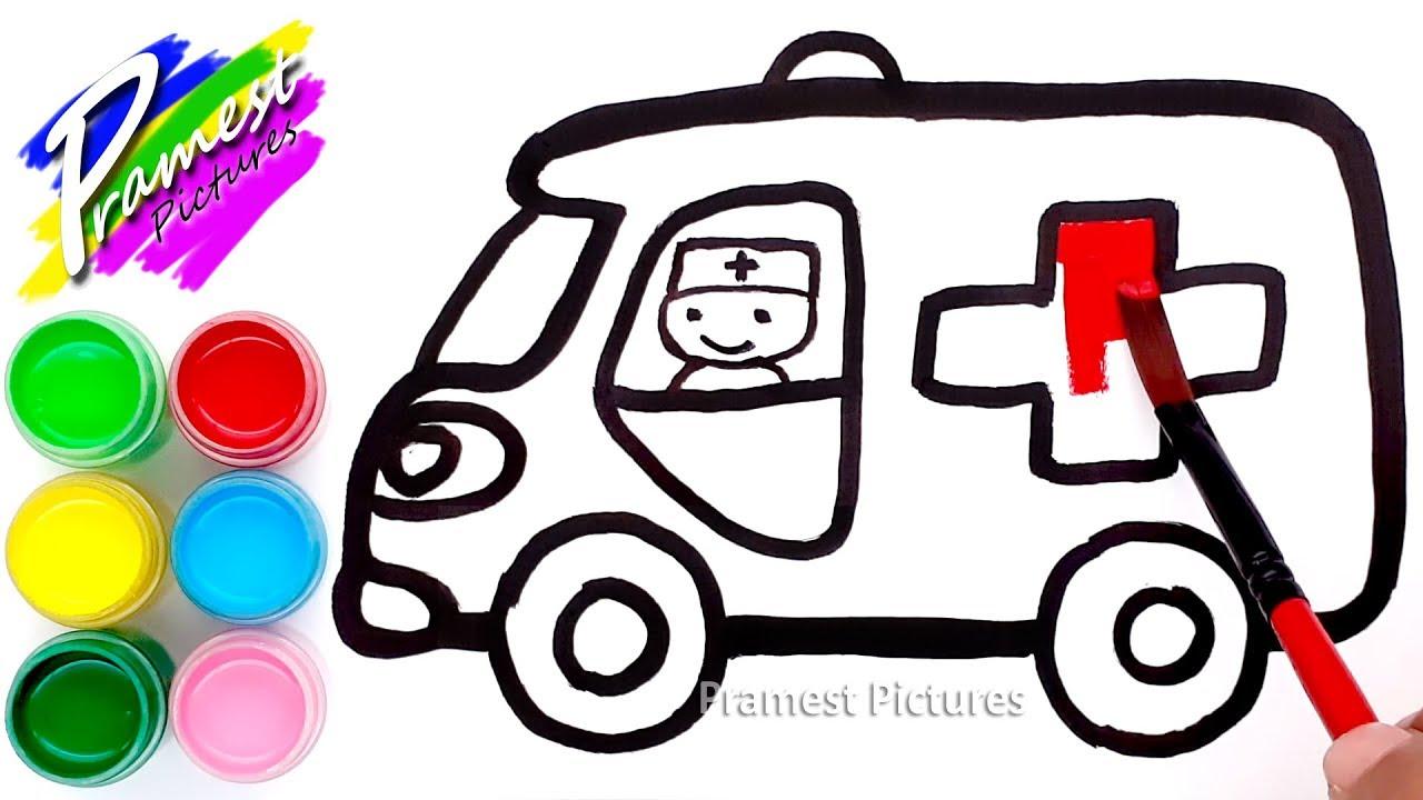 Ambulan Cara Menggambar Dan Mewarnai Gambar Mobil Youtube