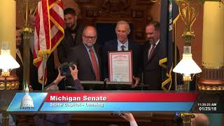 Sen. Meekhof welcomes Detroit Tigers legend Alan Trammell to the Michigan Senate