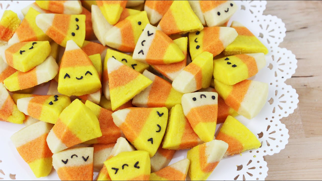 how to make halloween candy corn cookies! - youtube